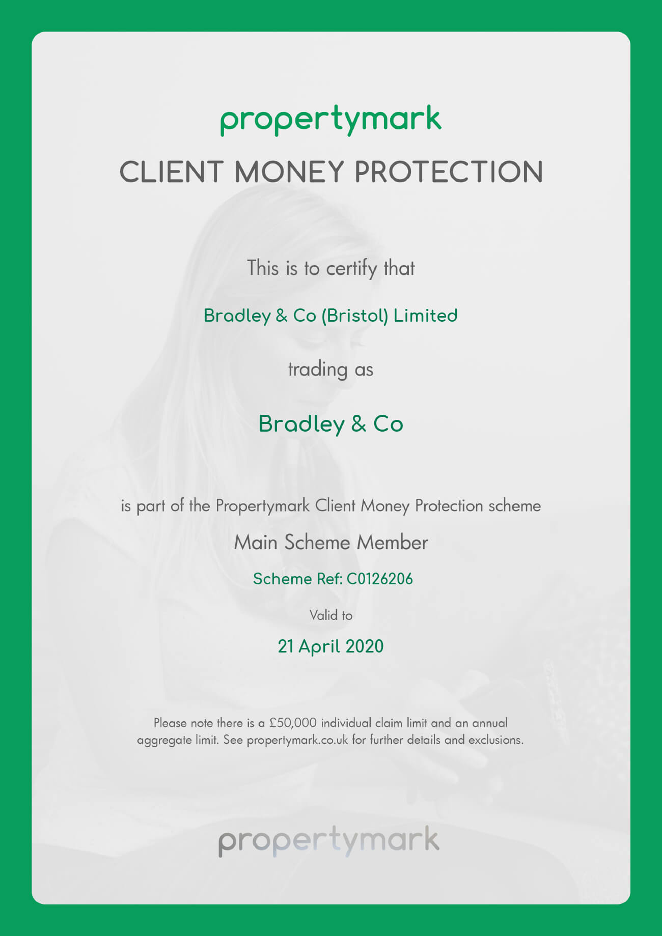 Bradley-Client-Money- Protection-Certificate